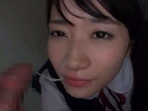 【大島美緒】腰振りフェラからお顔目掛けて大量射精