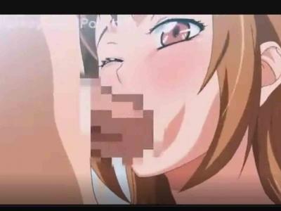 【アニメ】膝まづかせて頭を掴んで少女の口をオナホにして腰振りイラマチオ口内射精♡